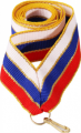 Лента для медалей 22 мм Цвет триколор кайма золото